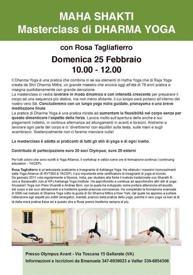MASTERCLASS DI DHARMA YOGA ROSA TAGLIAFIERRO